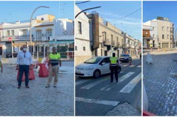 Obras de la Rotonda de la Avenida de Portugal de Lora del Río